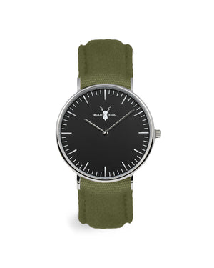Silver Black - Olive Canvas - BOLD STAG Uhr