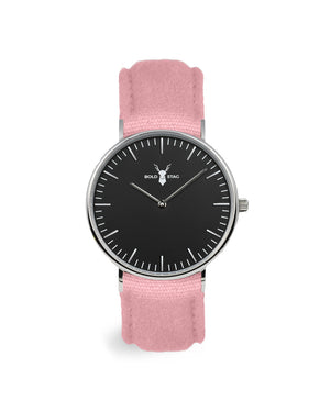 Silver Black - Pink Canvas - BOLD STAG Uhr