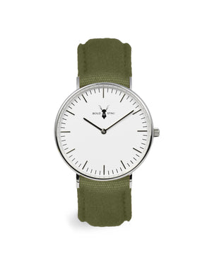 Silver White - Olive Canvas - BOLD STAG Uhr