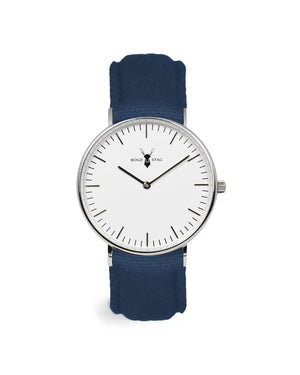 Silver White - Blue Canvas - BOLD STAG Uhr