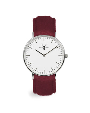 Silver White - Bordeaux Canvas - BOLD STAG Uhr