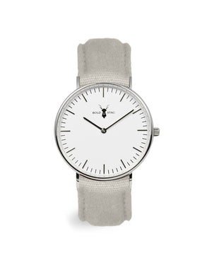 Silver White - Grey Canvas - BOLD STAG Uhr