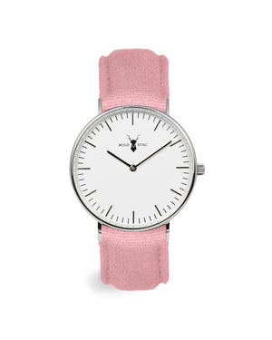 Silver White - Pink Canvas - BOLD STAG Uhr
