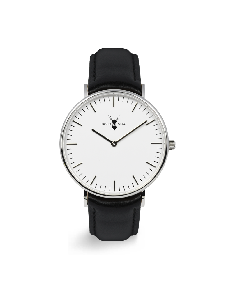 Silver White - Black Leather - BOLD STAG Uhr