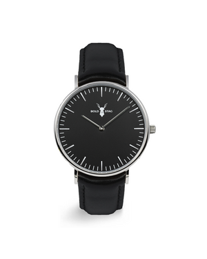Silver Black - Black Leather - BOLD STAG Uhr