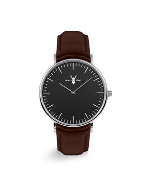 Silver Black - Brown Leather - BOLD STAG Uhr
