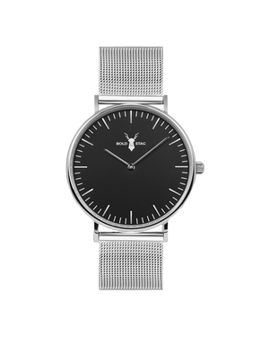 Silver Black - Mesh - BOLD STAG Uhr
