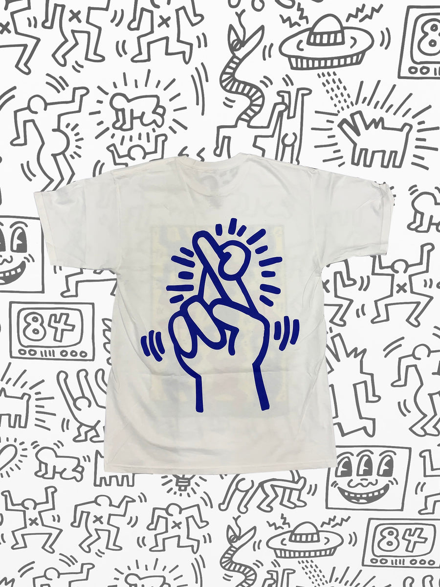 Diamond x Haring Fingers Crossed Tee - White, Haring -  Diamond Supply Co.