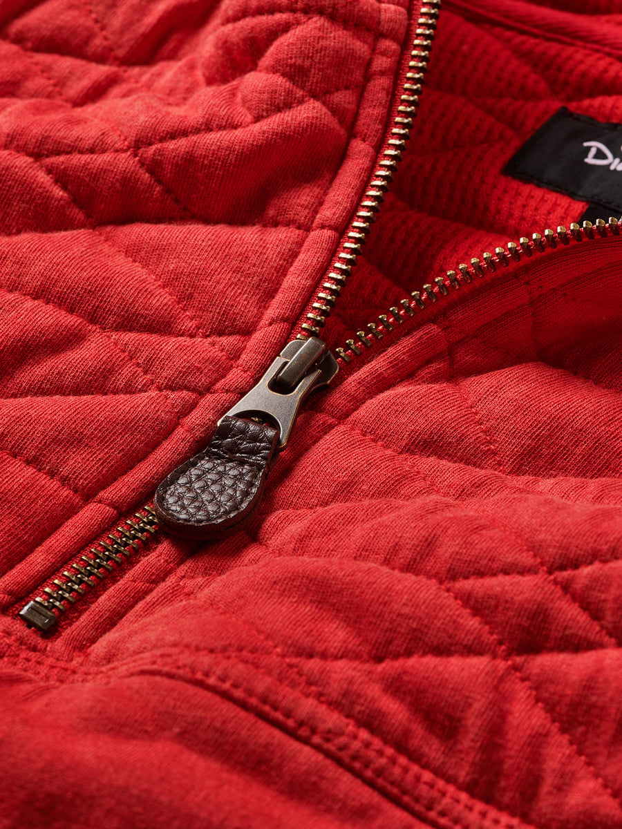Diamond Quilted Hoodie - Red