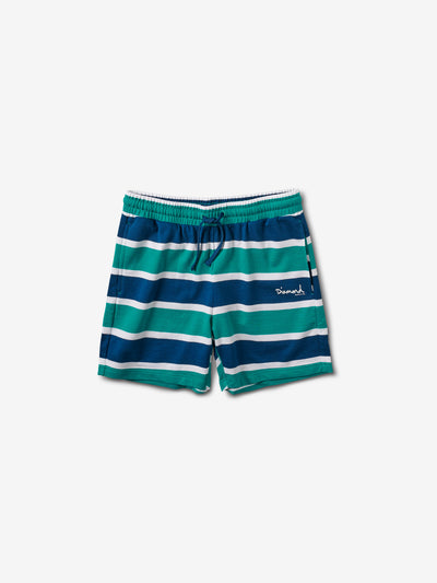 Mini OG Script Striped Shorts - Teal