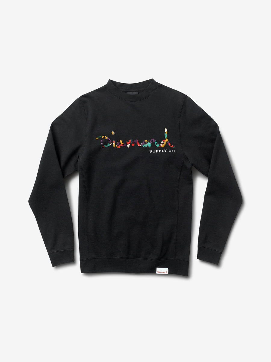 OG Script Fasten Crewneck - Black,  -  Diamond Supply Co.