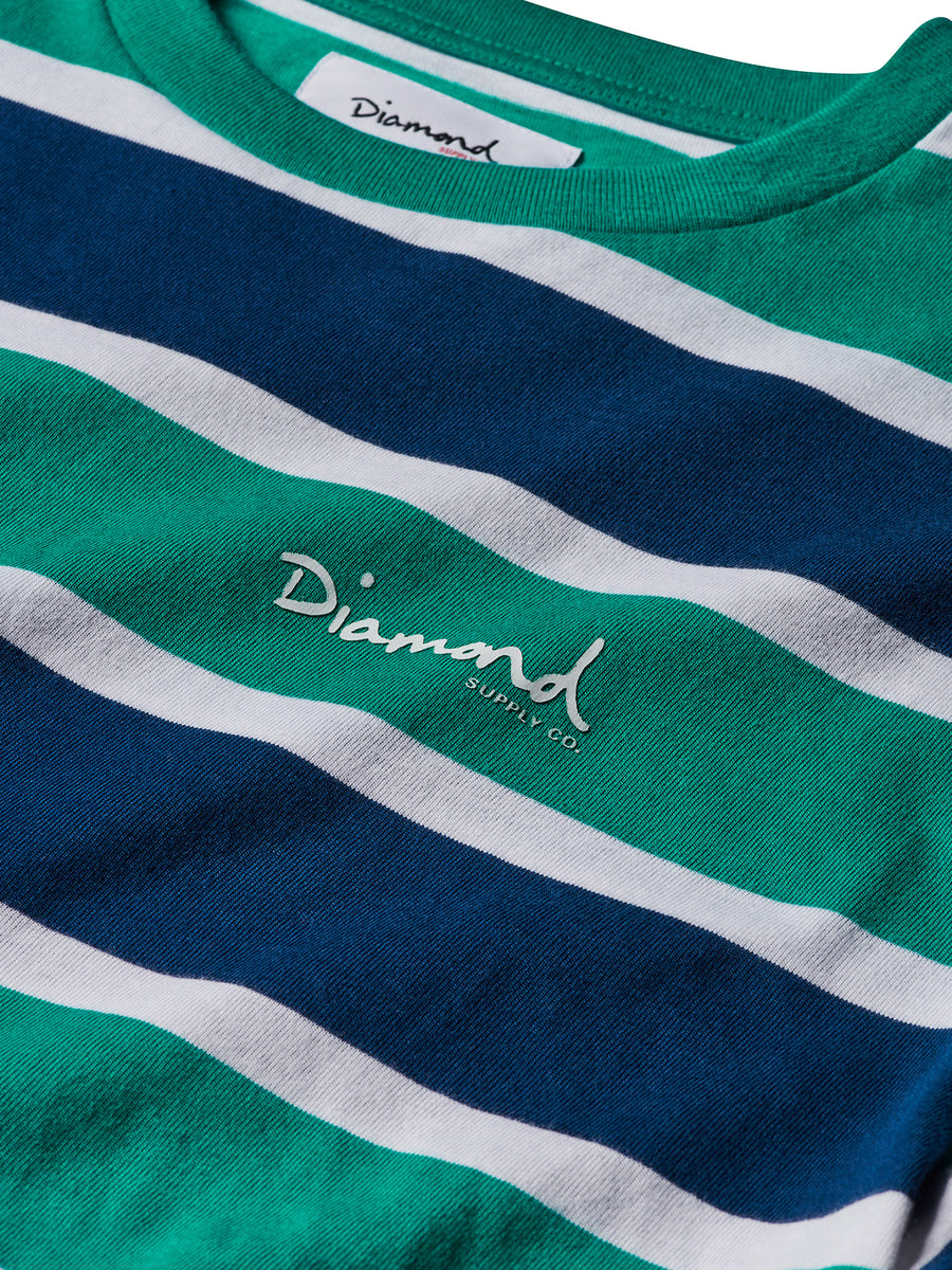 Mini OG Script Striped Tee - Teal