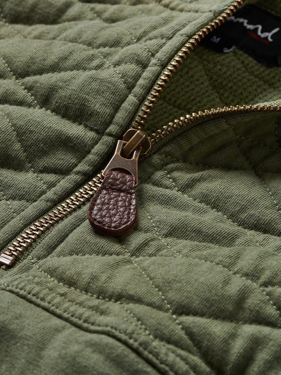 Diamond Quilted Hoodie - Olive