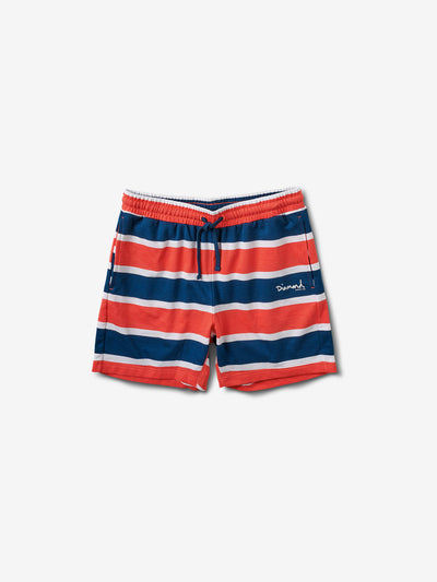Mini OG Script Striped Shorts - Coral, Summer 2019 -  Diamond Supply Co.
