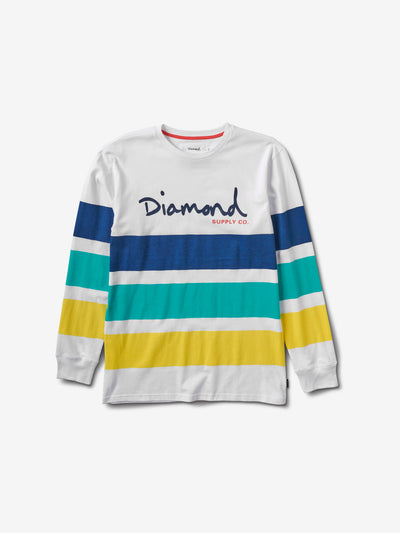 OG Script Striped Longsleeve Tee - White