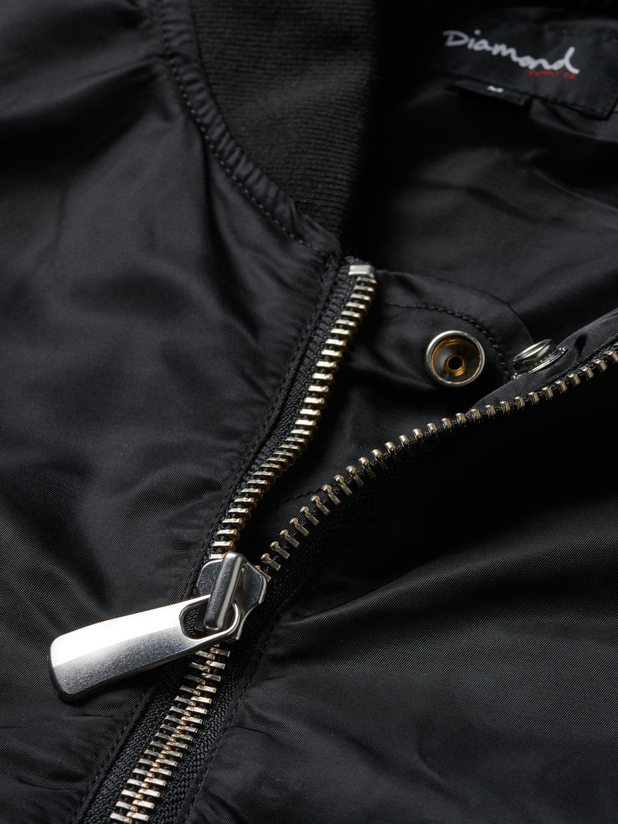 Diamond Panelled Bomber Jacket - Black
