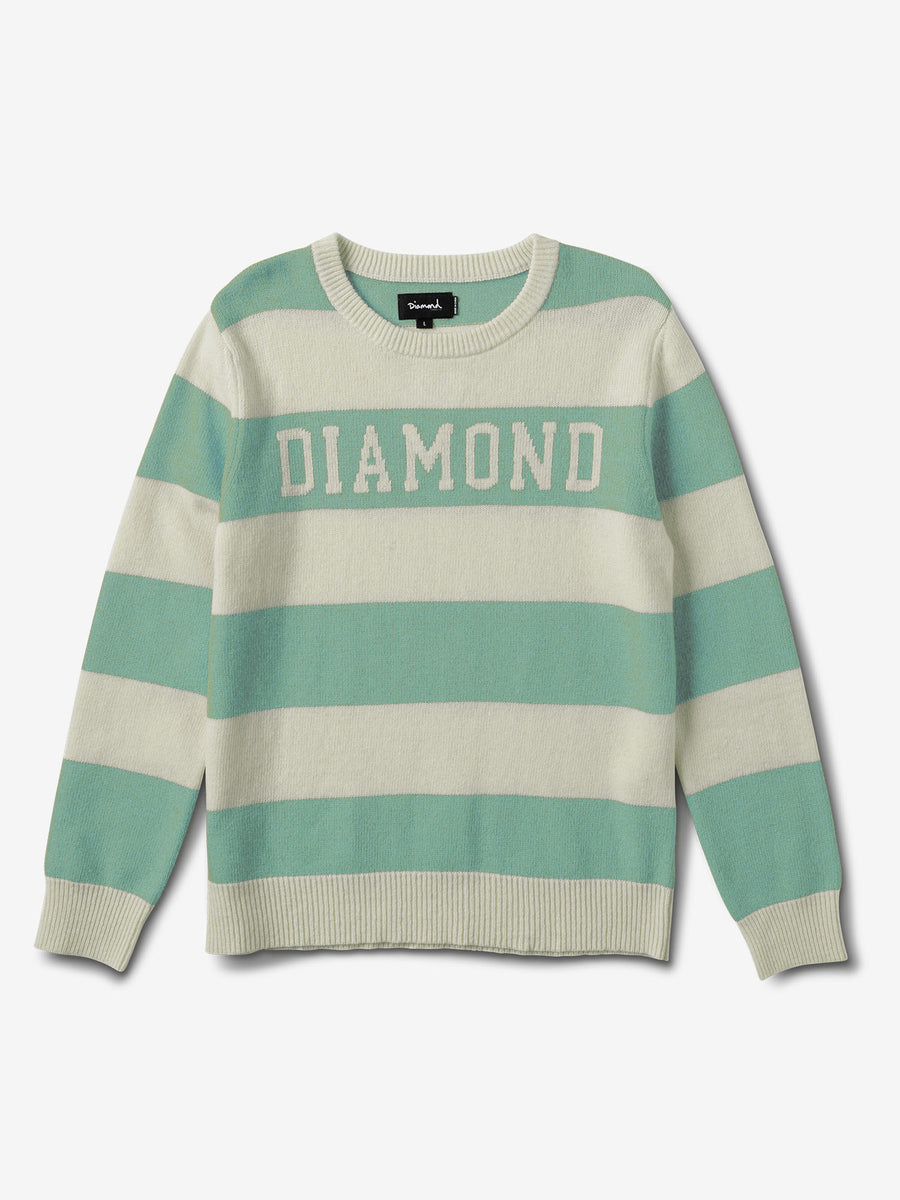 Diamond Striped Wool Sweater - Diamond Blue