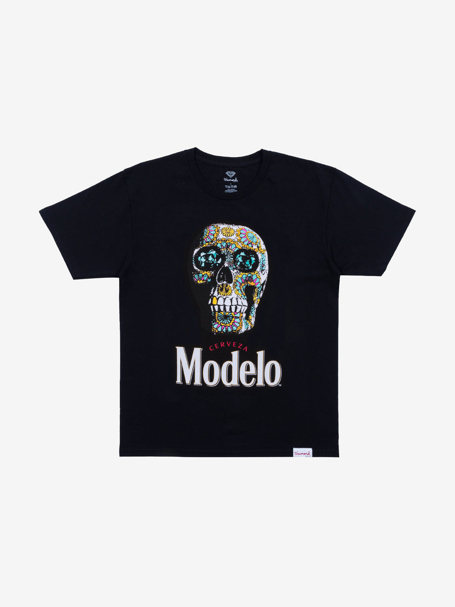 Diamond x Modelo Calavera Tee - Black, Modelo -  Diamond Supply Co.