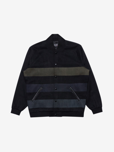 Diamond Striped Varsity Jacket - Black