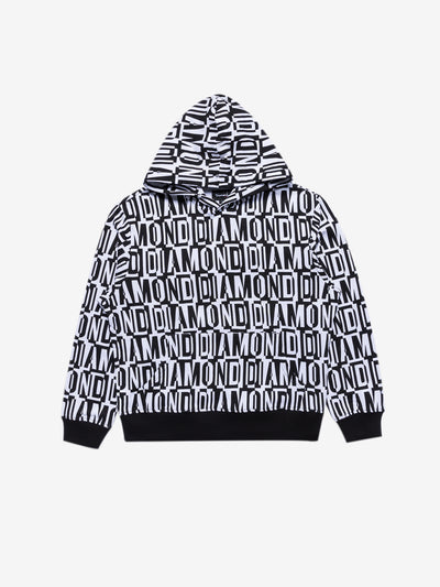 Diamond Jumbled Oversized Hoodie - White