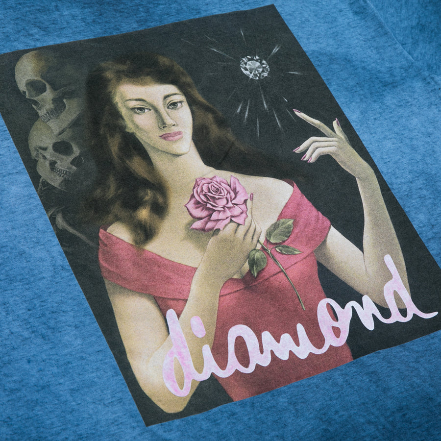 Rose Diamond Oil Wash Tee - Navy Oil
