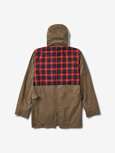 Plaid Trench Coat - Olive