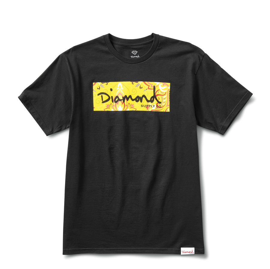 Paisley Box Logo Tee - Black