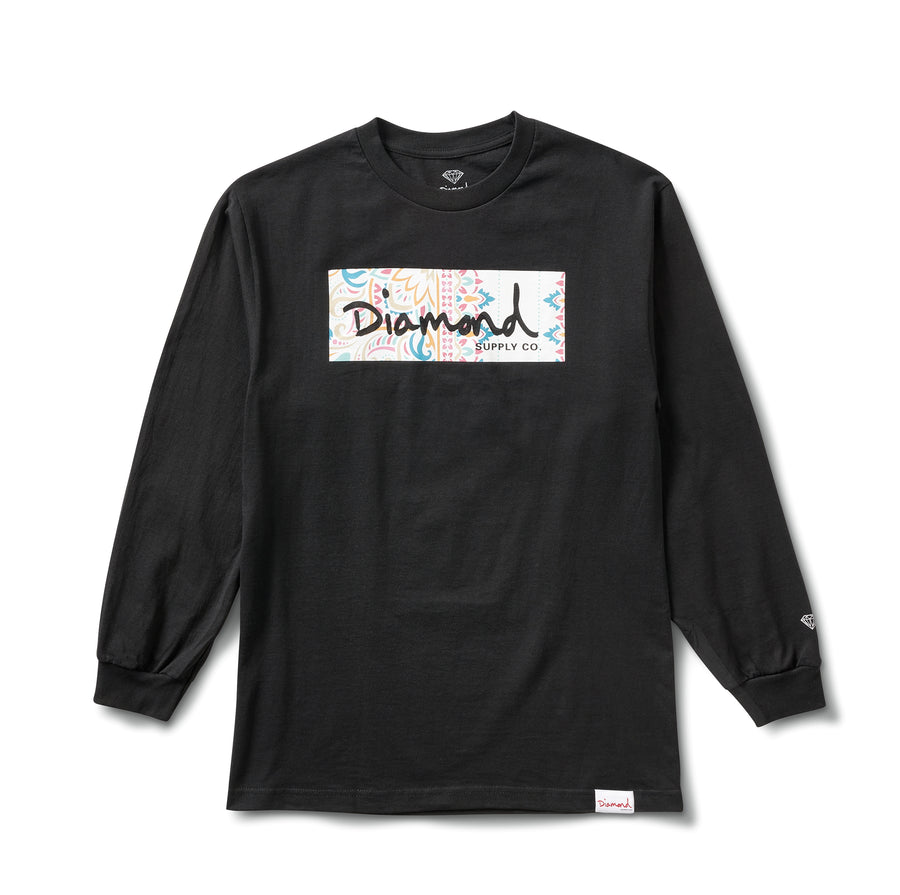 Paisley Box Logo Long Sleeve Tee - Black