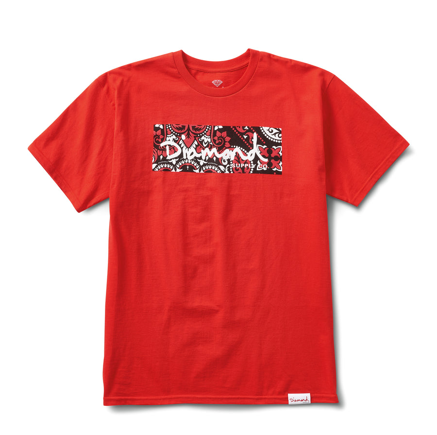 Paisley Box Logo Tee - Red