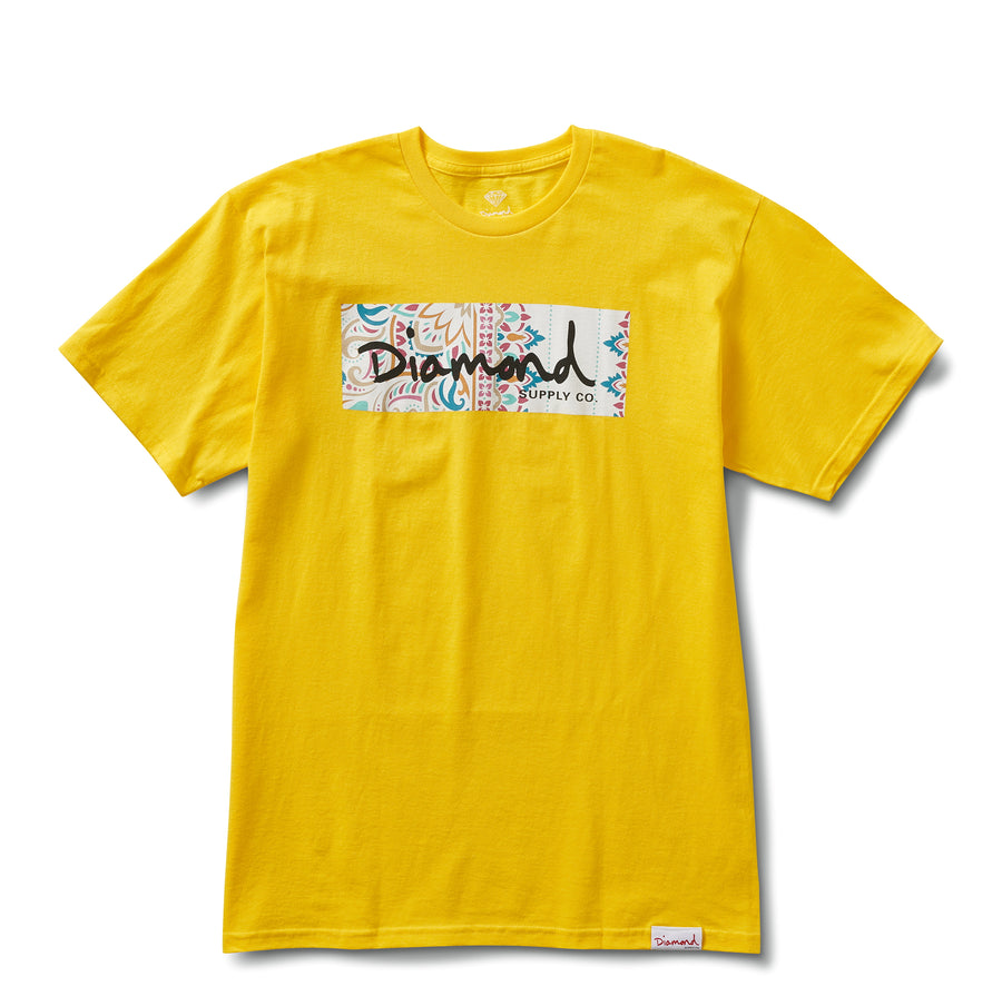 Paisley Box Logo Tee - Yellow