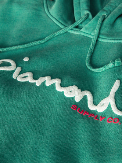 OG Script Overdyed Puff Print Hoodie - Turquoise, Puff Print QS -  Diamond Supply Co.