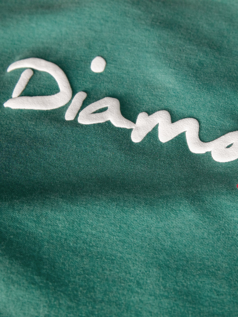 OG Script Overdyed Puff Print Tee - Turquoise, Puff Print QS -  Diamond Supply Co.