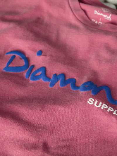 OG Script Overdyed Puff Print Tee - Pink, Puff Print QS -  Diamond Supply Co.