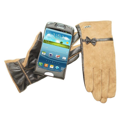 Hand Glove Mobile Smartphone Anti Drop Anti Theft Protector Device- Suede/Brown-Attached Black Leather Phone Case