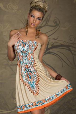Amber Half Sleeve Vintage Boho Dress (Ocean Blue)