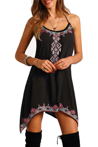 Vintage Gaban Print Mini Boho Dress (Black)