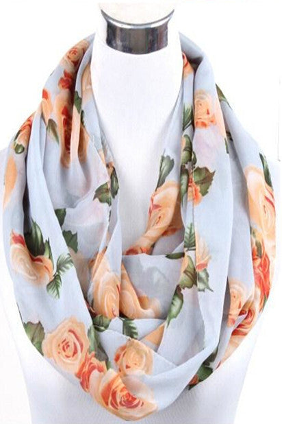 Thelma Rose Pattern Infinity Scarf (Stone)-Accessories-Indie Boho Boutique