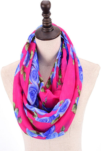 Thelma Rose Pattern Infinity Scarf (Wine)-Accessories-Indie Boho Boutique