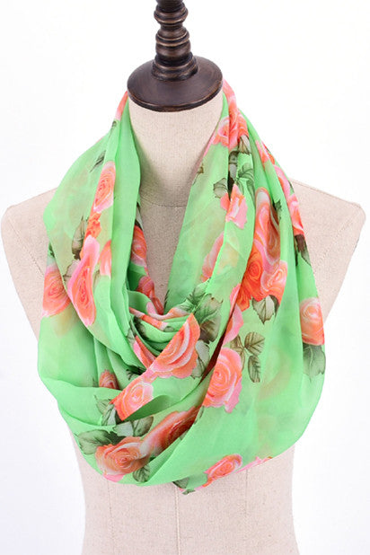 Thelma Rose Pattern Infinity Scarf (Mint)-Accessories-Indie Boho Boutique