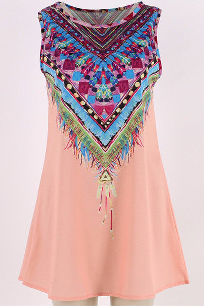 Vintage Gaban Print Mini Boho Dress (Pink) - Indie Boho Boutique