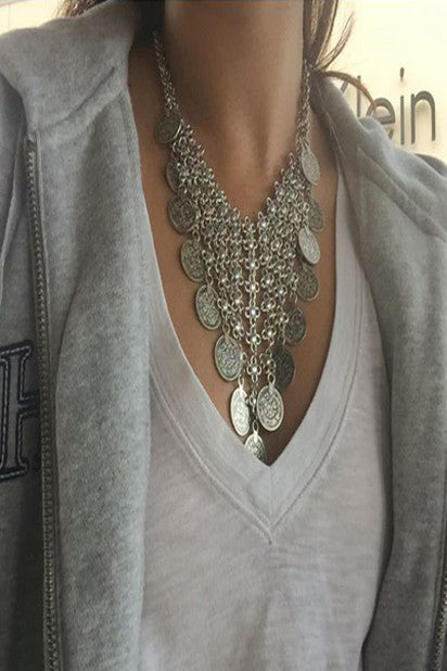 Empress Justina Roman Coin Statement Necklace - Indie Boho Boutique