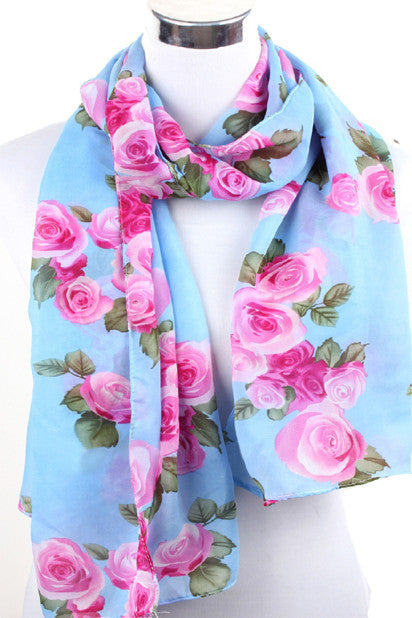 Thelma Rose Pattern Infinity Scarf (Aquamarine)-Accessories-Indie Boho Boutique