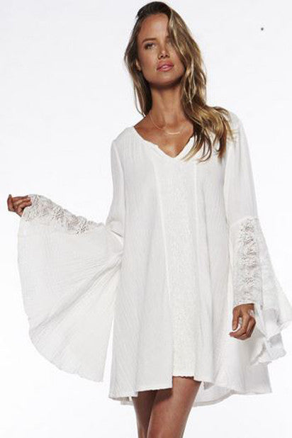Flare Sleeve Bottoming Lace Helen Boho Dress - Indie Boho Boutique