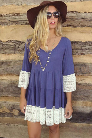 Vintage Off the Shoulder Boho Mini Dress (Indigo)