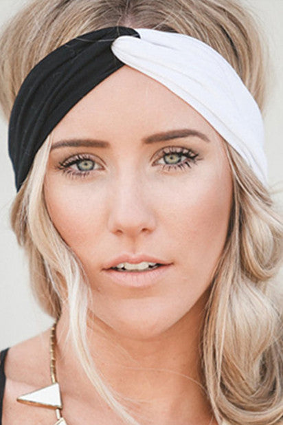Twin Twist Handmade Turban Headband In Black & White-Accessories-Indie Boho Boutique