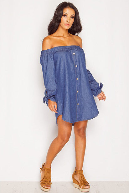 Vintage Off the Shoulder Boho Mini Dress (Indigo) - Indie Boho Boutique