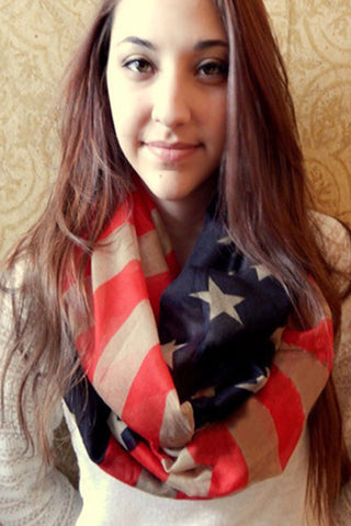Vintaged Stars & Stripes Betsy Infinity Scarf-Accessories-Indie Boho Boutique