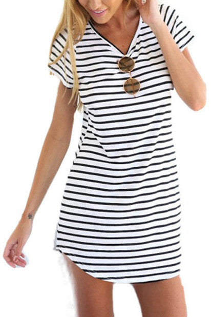 Jackie O Nautical Stripe Dress In White (With Black Stripes) - Indie Boho Boutique
