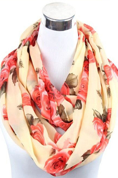 Thelma Rose Pattern Infinity Scarf (Sand)-Accessories-Indie Boho Boutique
