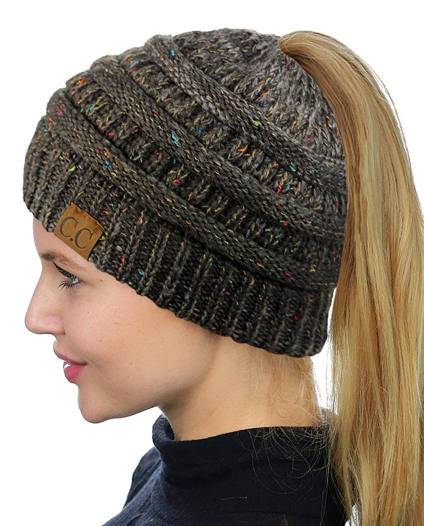 Messy Bun Beanie Ponytail Hat - Confetti Dark Gray | Indie Boho Boutique
